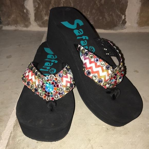 3b56bf5841b39 Safari Girl Chevron Rhinestone Wedge Flip Flops. M 5a69457ca825a62a1fd49fbc